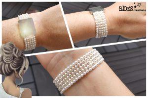 bracelet de montre tissage perles poiray ou oj perrin